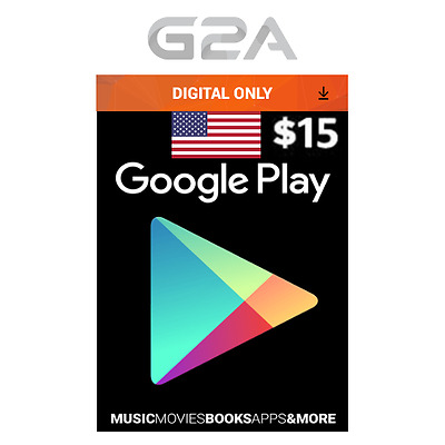 $15 USD Google Play Gift CARD - 15 US Dollars Code USA Android Store Prepaid Key