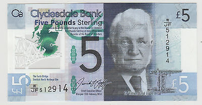 2016 £5 Five Pound Clydesdale Bank Scotland Note  Uncirculated 914