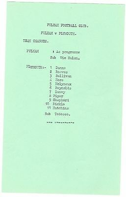 Fulham v Plymouth Argyle Division III 1969/70 - Nice copy + official team sheet