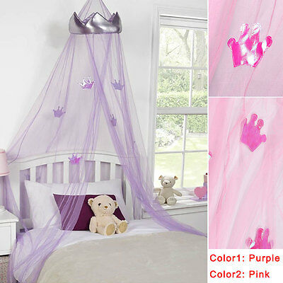 Pink/Purple Round Lace Curtain Dome Bed Canopy Netting Princess Mosquito Net