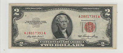 1953 $2 Two Dollars Usa Red Seal  Note Circulated 393A