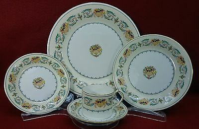 AYNSLEY china BANQUET pattern 5-piece Place Setting - cup saucer dinner salad +