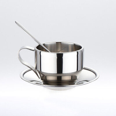Double Wall Stainless Steel Drink Coffee Cup Set Espresso Cup Mug &Spoon&Sauce