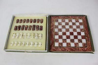 Vintage Marble Chess Set Board & Pieces Complete Boxed Natural Stone Onyx A7