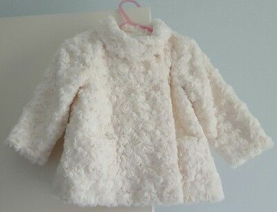 New Baby Girl Origami white winter evening coat jacket size 1 (fits size 1-2yrs)