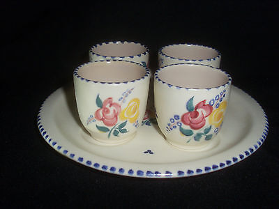 Poole Pottery Egg Cups & Base Plate