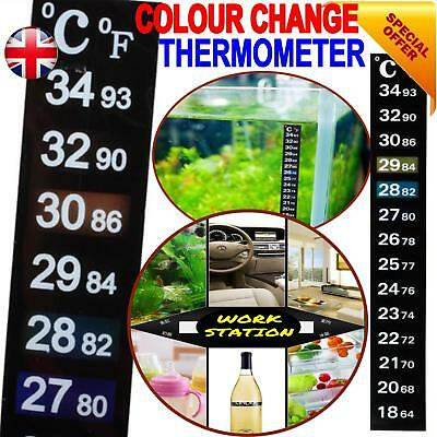 STICK ON THERMOMETER ADHESIVE AQUARIUM FISH TANK  WINDOW WATER STRIP lcd crystal
