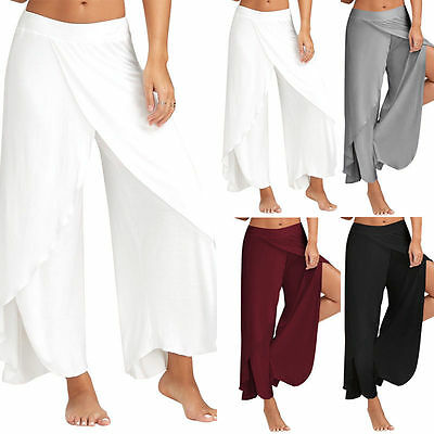 Ladies Casual Yoga Palazzo Trousers Womens Summer Wide Leg Pants Plus Size M-2Xl