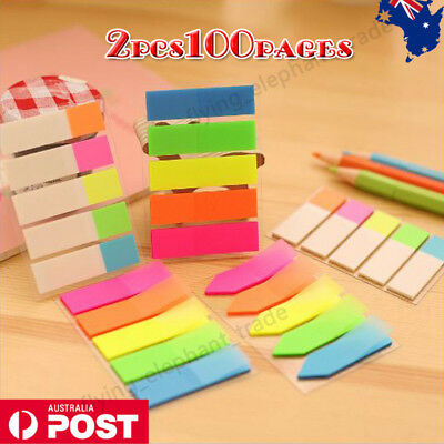 2x 100pages Cute Post-it Sticky Note Page Marker Memo Pad Bookmarker Stationery