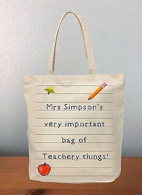 Thank You Teacher Tote Bag Personalised Gift For Teacher