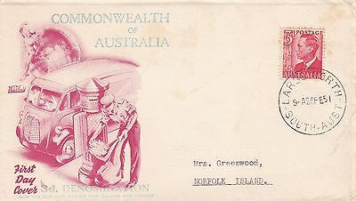 H 2152 Gower (Wesley FDCs) Largs North cds 3d Defin 1951 FDC to Norfolk Island