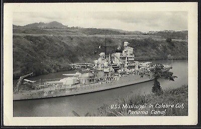 PANAMA - U.S.S. MIssissippi in Culebra Cut, Panama Canal. Real photo.