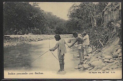 COSTA RICA - Indios pescando con flechas - Indians fishing with Bows and arrows.