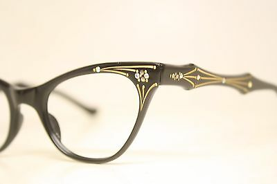 NOS Vintage Black cat eye glasses cateye eyeglasses frames W Rhinestones