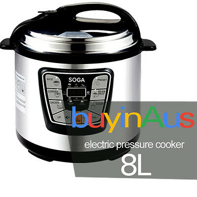 New Soga 8L Electric Pressure Cooker Stainless Steel Multi Function 1000W