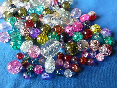 100 Mixed Job Lot Crackle Beads 16mm - 6mm Round & Oval Selection of Colours