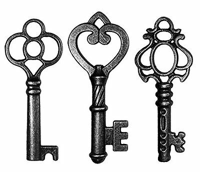 30 Pcs Antique Vintage Skeleton Key Wall Decor Lot Large Keys Home Jewelry Black