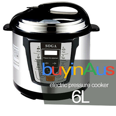 New Soga 6L Electric Pressure Cooker Stainless Steel Multi Function 1000W