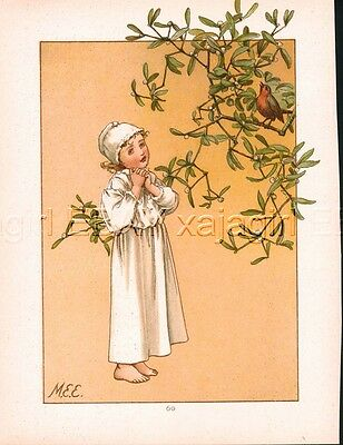 BIRD Robin Sings to Girl & Poem 1880s Antique Chromolith Color Print