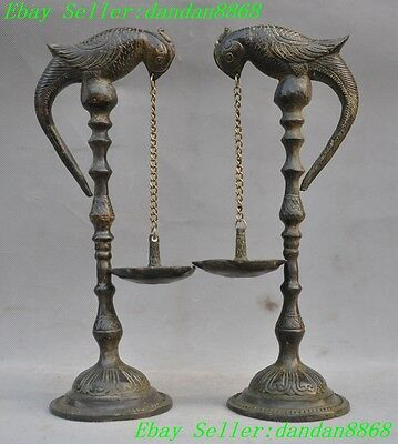 Chinese Palace pure bronze Magpie bird lucky statue Candlesticks Candle Stick