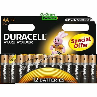 12 x Duracell AA Plus Power Alkaline Batteries, Duralock. LR6, MN1500