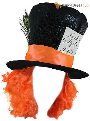 Ladies Mad Hatter Top Hat Adults Tea Party Fancy Dress Alice Fairytale Accessory