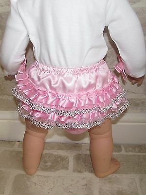 Romany Baby Bling Satin Lace Frill Baby Nappy Diaper Pants Pink Whitye