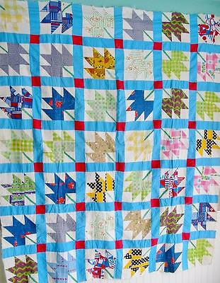 Folky Charming Colorful Vintage Quilt TOP Maple Leaf 70 by 60 inches