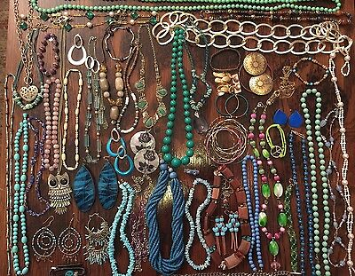 BIG Jewelry Lot Vintage Rings Necklaces JLBLUE2