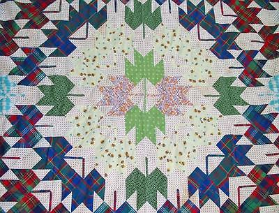 Vintage Maple Leaf Quilt TOP Great Colors 88 by 88 inches Great Graphics