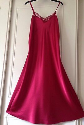 Vtg  Style Glossy Red Satin Lacy Slip Dress Negligee Nightie Gown 16-18 TallGirl
