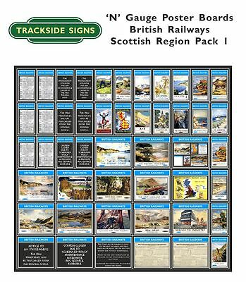N Gauge 2mm - Die Cut Model Railway Posterboards - British Railways All regions