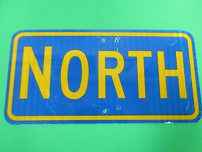 """Authentic Retired 12"""" x 24"""" Blue And Yellow Aluminum North Road Street Sign"""