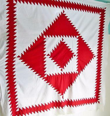 Antique Sawtooth Diamond in a Square Quilt TOP 72 by 72 inches Hand Sewn Crisp