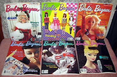 Lot of 6 Barbie Bazaar Magazines 1995/1996