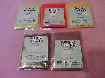 Hareline Fur Dubbin Mixed Lot of 5 Colors
