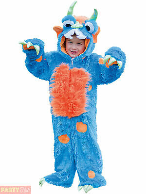 Childs Toddlers Blue Monster Plush Fancy Dress Costume Boys Girls Kids Outfit
