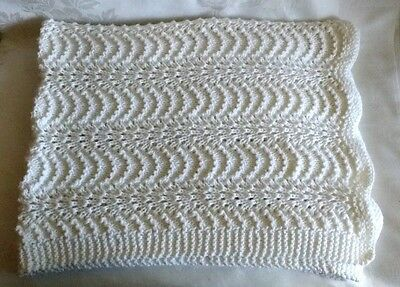 Hand Knitted White Baby Blanket Lacy Wavy Knit Handmade Afghan NEW