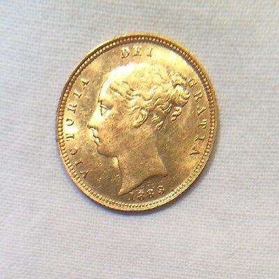 1883 Young Queen Victoria Great Britain Gold 1/2 Half Sovereign Coin