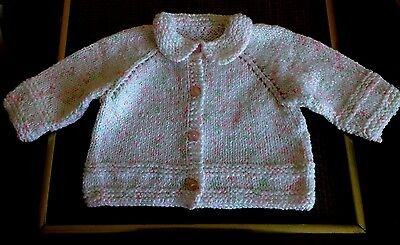 Hand Knitted Baby Girl White W/ Specs Cardigan Sweater Size 6-9M NEW