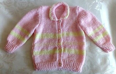 Hand Knitted Baby Girl Pink & Yellow Cardigan Sweater Size 9-12M NEW