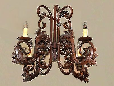 Vintage French Iron Four Light Tole Chandelier