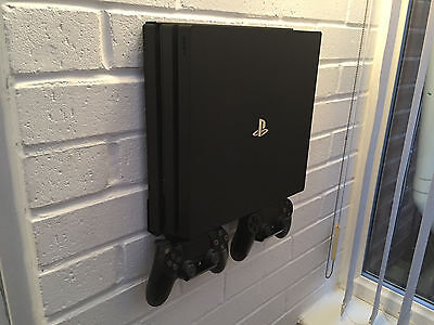 PS4 PRO Wall Mount Bracket Kit In Black Including Brackets For Controllers