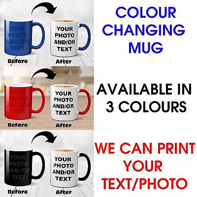 New Personalised Colour Changing Magic Mug Photo Text Customised Birthday Gift