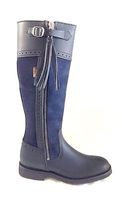 Authentic Spanish Riding / Country Boot * Black Leather & Blue Suede * Size 5