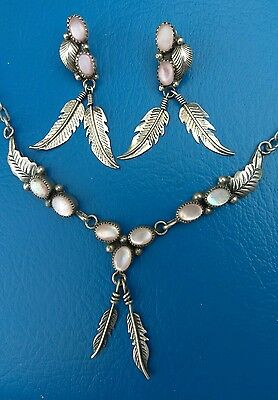 Sterling Silver Onyx Navajo Feather Necklace & Earring Set
