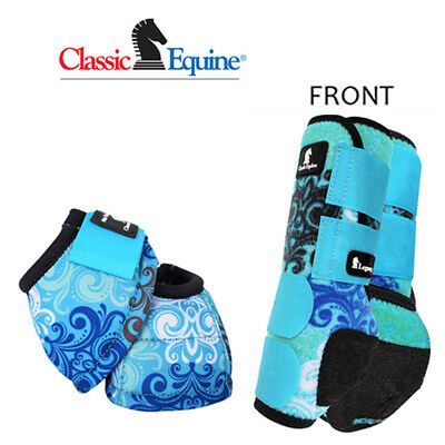 Large Blue Scroll Classic Equine Front Sports + No Turn Bell Boots Legacy Horse