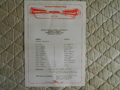 1990/91 Arsenal Res V Chelsea Res Football Combination Single Sheet Programme