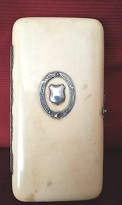 Antique Cigar Case Bovine Bone Chinese Canton With Silver Fittings