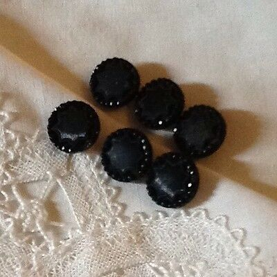 Antique Black Glass Patterned Buttons C.1890